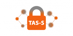 Logo for the TAS-S node. An orange and grey closed padlock, featuring the Node's acronym in white letters. To both sides of the padlock, there are three orange and grey circles, interconnected by lines